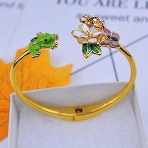 Zircon Bee Flower Little Frog Opening Bracelet